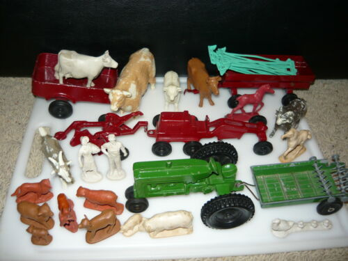 Lot Of Vintage Plastic Toy Farm Animal Figures + Metal Farm Equipment Tractor +