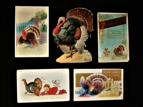 Lot of 4 Antique Thanksgiving Postcards +  1 Victorian Scrap Turkey