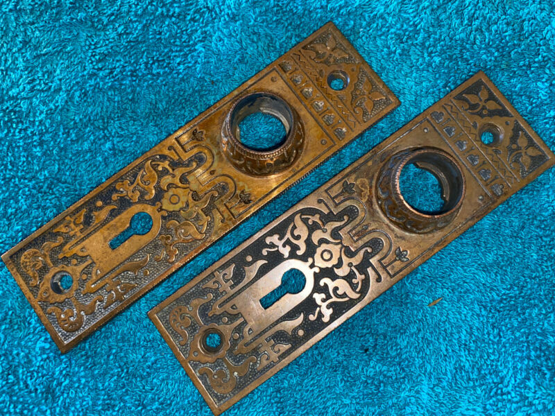 2 Antique Victorian Cast Bronze Door Plates / Escutcheons