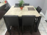 Beautiful mint breakfast table with 6 leather chairs