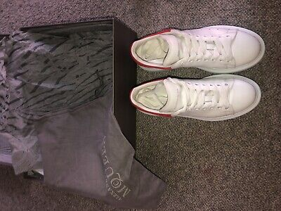 ALEXANDER MCQUEEN Ladies runway leather platform trainers White/Red Size 5.5
