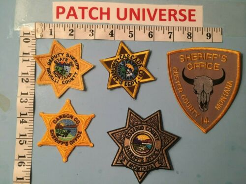 LOT OF FIVE  DIFFERENT  COUNTY  MONTANA SHERIFF  SHOULDER  PATCHES  O023