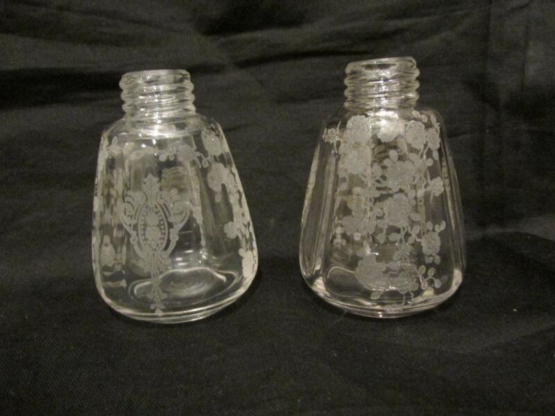 vintage Cambridge rose point rosepoint elegant glass crystal salt pepper shakers