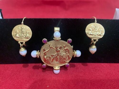 Solid 18K yellow gold Tagliamonte Style Etruscan Brooch Pendant Earrings Pearl