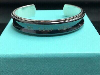 Retired Tiffany Co 925 Sterling Silver 1837 Titanium Cuff Bangle Bracelet