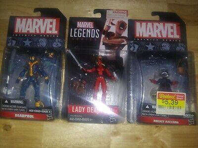 Marvel 3.75 Legends & Infinite Series Lady Deadpool & Deadpool & Rocket Rac.