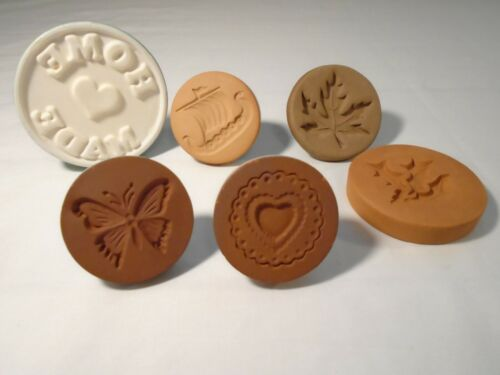 Rycraft Cookie Stamps Viking Ship-Holly Ceramic Stamps Maple Leaf-Butterfly 6pc