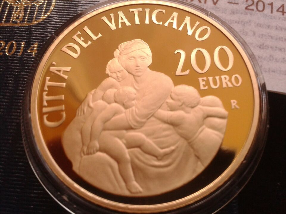 Original 200 euro 2014 PP 40g Gold Vatikan Papst Franziskus in München - Obergiesing