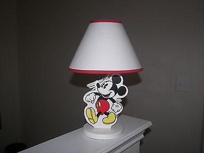 Vintage Walt Disney Mickey Mouse Nursery Lamp With Shade