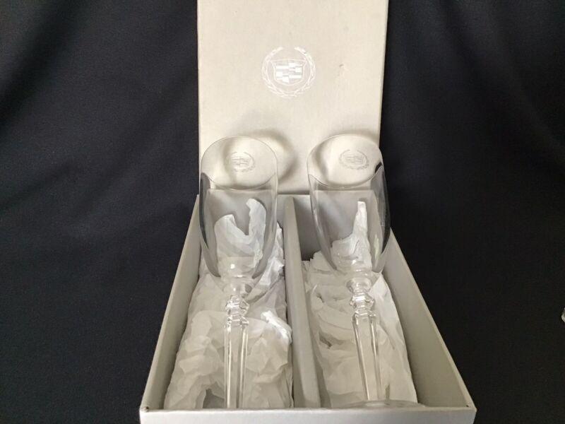 Set of 2 Cadillac Logo Crystal Champagne Flutes By Mario Cioni (Italy)