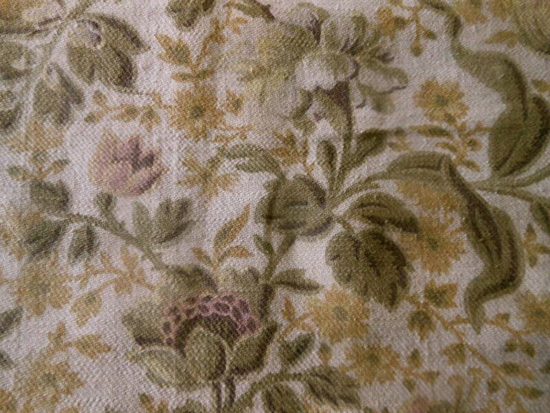 Antique French Botanical Floral Cotton Fabric ~Lavender Blush Sage Olive Mustard