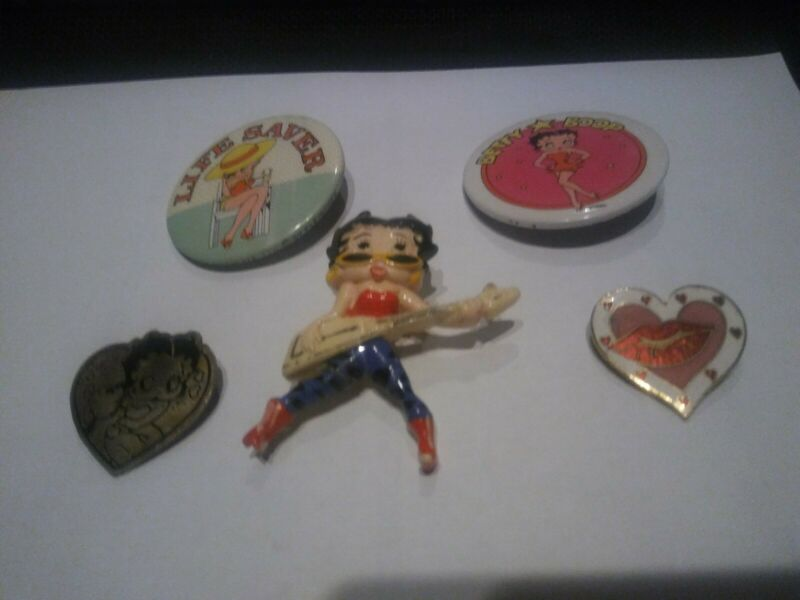 5 BETTY BOOP CLASP PINS