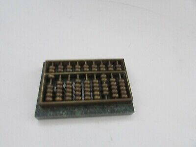 Vintage Small Brass Desk Abacus On Green Solid Marble Base, Paperweight