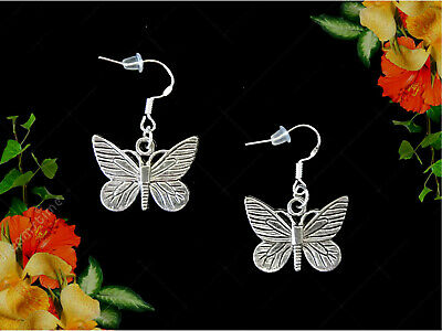 Butterfly Dangling Silver Earring (BUTTERFLY DANGLE SILVER EARRINGS~STERLING HOOK~MOTHERS DAY GIFT FOR HER MOM WIFE )