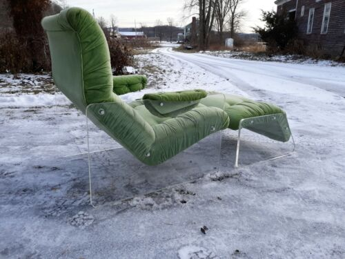 Vintage Kagan style lucite lounge chair and ottoman,very good original