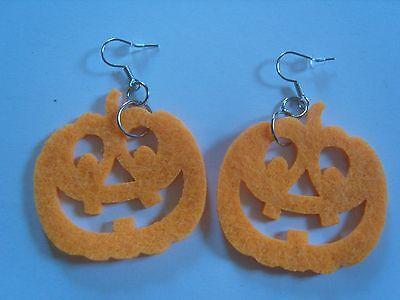 Ohrringe Kürbiskopfgesicht Kürbis orange Farben Halloween Amerika aus Filz 2685