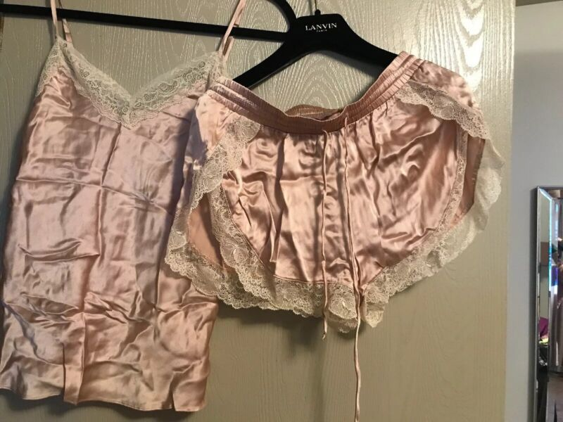 NEW S Eloise FREE PEOPLE Anthropologie silk lace slip night shortie cami
