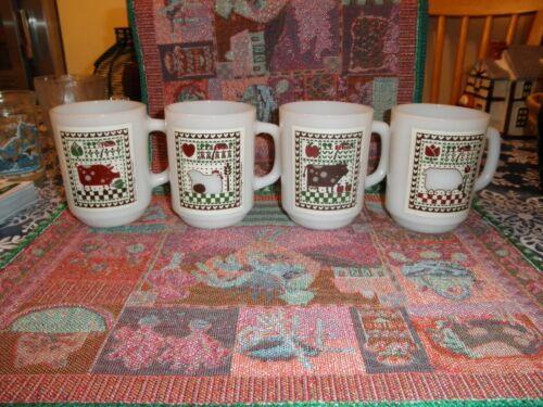 Vintage Rodger Johnson Farm Milk Glass Mug Cup Set of 4 Anchor Hocking 1981