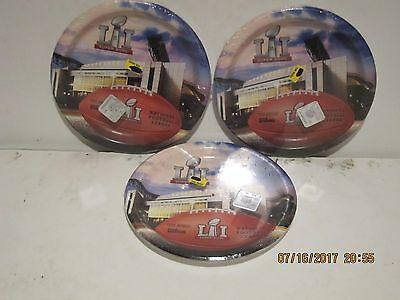 OFFICIAL NFL W/HOLOGRAM Super Bowl LI 18cm Dessert Paper Plates PK/8 NEW SEALED!