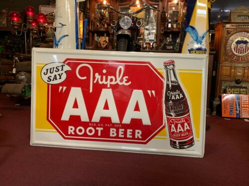 "NEW OLD STOCK AAA Root Beer 57"" Tin Embossed Tin Advertising Sign "" Watch Video"""