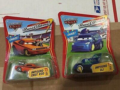 Disney Pixar CARS Lot IMPOUND SNOT ROD & DJ Chase Race O Rama Sealed New MIB