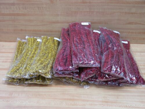 """Lot of 192 Sparkly Red & Gold 12"""" Tinsel Stems Christmas Craft Chenille Sticks"""