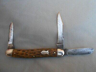 OLD VINTAGE SCHRADE CUT CO WALDEN NY LARGE SERPENTINE STOCKMAN KNIFE