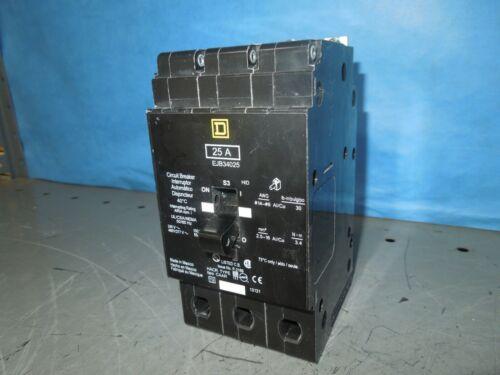 Square D Ejb34025 25a 3p 480v 50/60hz Circuit Breaker Used