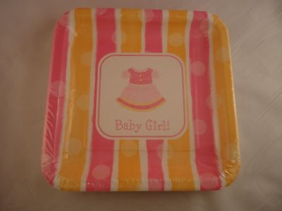 Girl 9 Dinner Plates (Baby Girl 18 Paper Plates (9in x9in) Baby Showers New Born Lunch Dinner Party  )