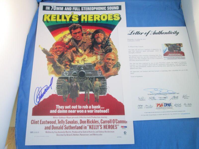 Clint Eastwood Kelly's Heroes Signed 11x17 Poster PSA DNA COA LOA Autograph