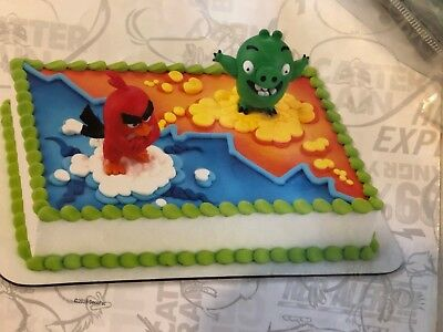 Deco Pac ANGRY BIRDS RED BIRD AND BAD PIGGY CAKE TOPPER DECORATING KIT NEW  ](Angry Birds Birthday Cake)