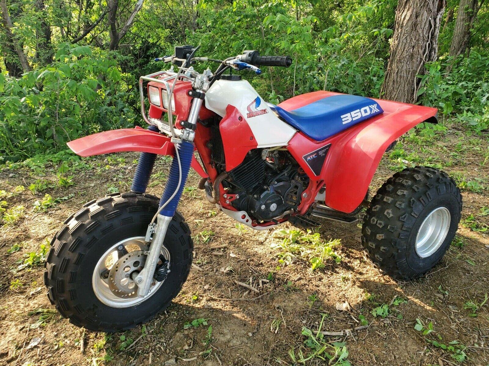 1985 HONDA ATC 350X - 3 WHEEL ATV - RED, WHITE & BLUE - ORIGINAL - MINT - 1 OF 2