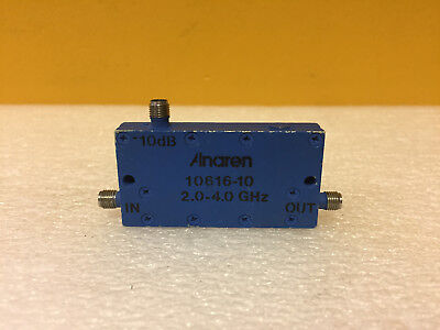 Anaren 10616-10 2 To 4 Ghz 10 Db Sma F Coaxial Directional Coupler. Tested