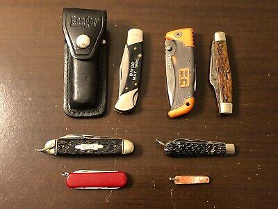 Vintage Knife Lot Of 7 Craftsman Ranger Victorinox Gerber LK CO