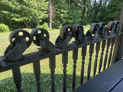 8 Vintage Industrial Metal Cast Iron Bond Caster Wheels 5