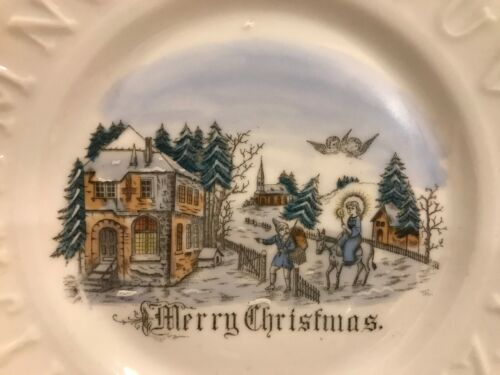 Lovely Antique Christmas ABC Plate Merry Christmas Christ Child Santa Angels