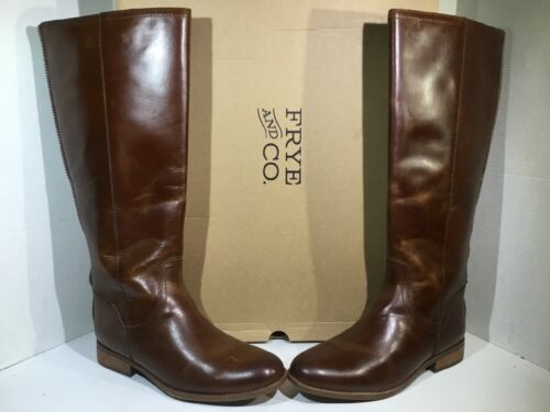Frye Womens Size 9.5 Jolie Back Zip Cognac Leather Knee High
