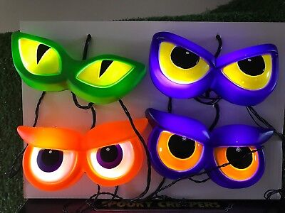 Four Eyes Halloween (New Set Of Four Pairs of Halloween Blinking Monster Eyes Battery Operated)