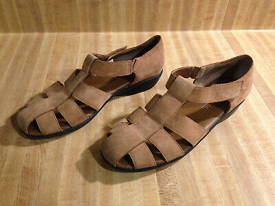 Aerosoles Tan Suede Leather Fisherman Sandals Flats Velcro Strap Size 8  Velcro Strap Sandals