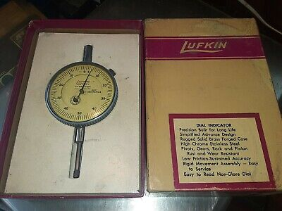 Lufkin Dial Indicator J3-b50-1000 Dial Reading 0-50-0 In Orig. Box