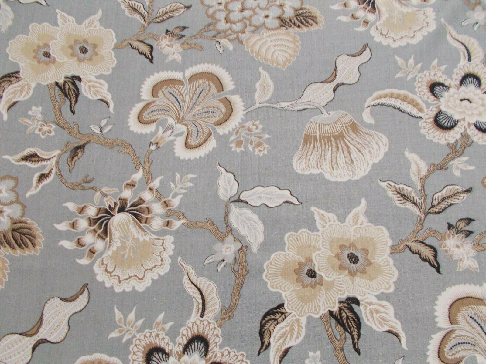 Schumacher Curtain Fabric 'HOTHOUSE FLOWERS' 3 METRES (300cm) MINERAL 100% Linen
