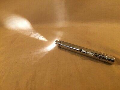 "Vintage Vtg Eveready AA Pen Pocket Chrome Flashlight 5"" USED WORKS"