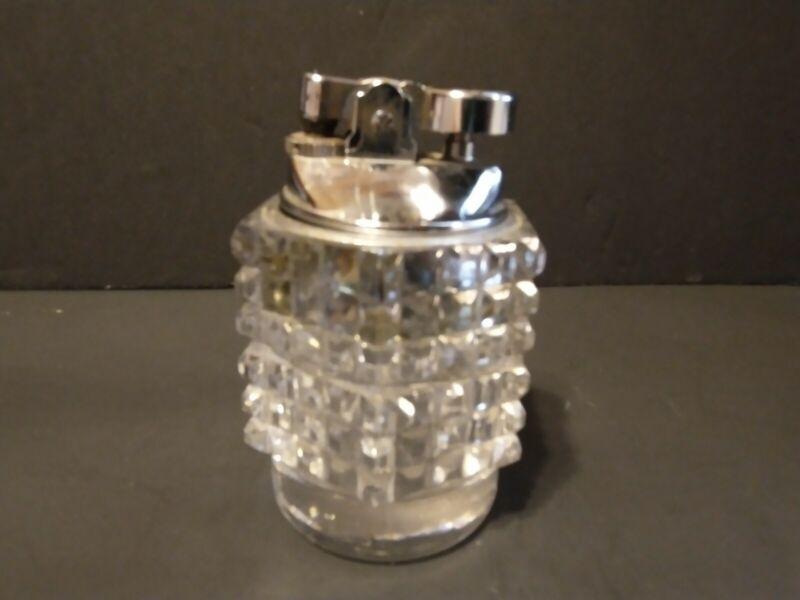 VINTAGE--Colibri Clear Glass & Silver Table Lighter Japan--ANTIQUE