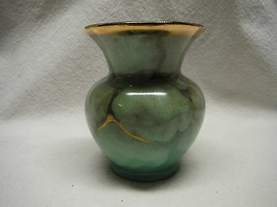 VINTAGE CARSTENS TONNIESHOF SMALL POTTERY VASE GREEN GOLD WEST GERMANY