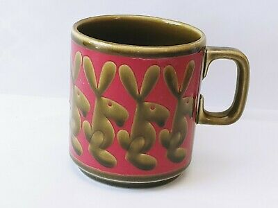 Hornsea England Ceramic Pottery Coffee Cup Mug England 70s Vintage Bunny Design