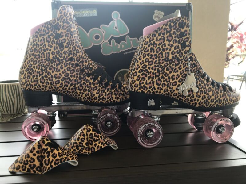 Moxi Jungle Leopard Roller Skates Similar To Beach Bunny NIB Size 8
