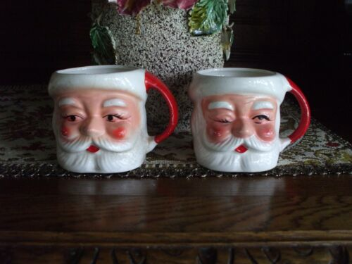 Vintage Ceramic Santa Claus Head Cups Mugs Handled Japan Eyes Open & Winking