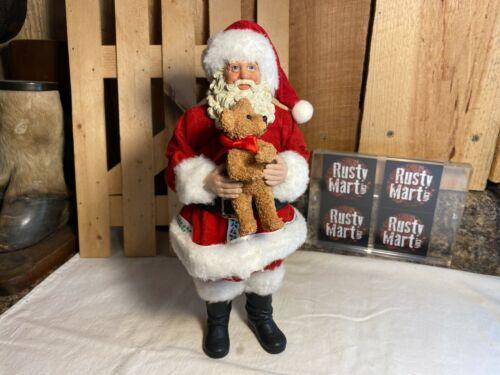 Possible Dreams Clothtique Santa with Bear Figurine