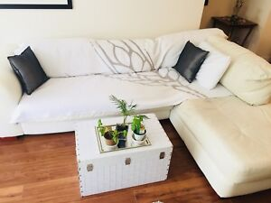 White Leather Sectional + Blanket for worn seating area+Pillows