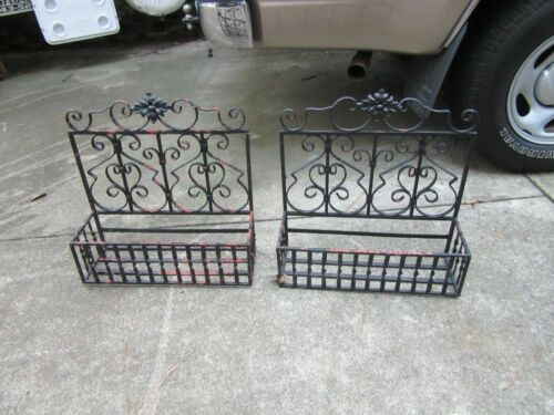SET of 2 Antique Vintage Wrought Iron Planter Boxes
